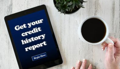 Get your credit history rating report on the screen of an iPad tablet with female hands coffee